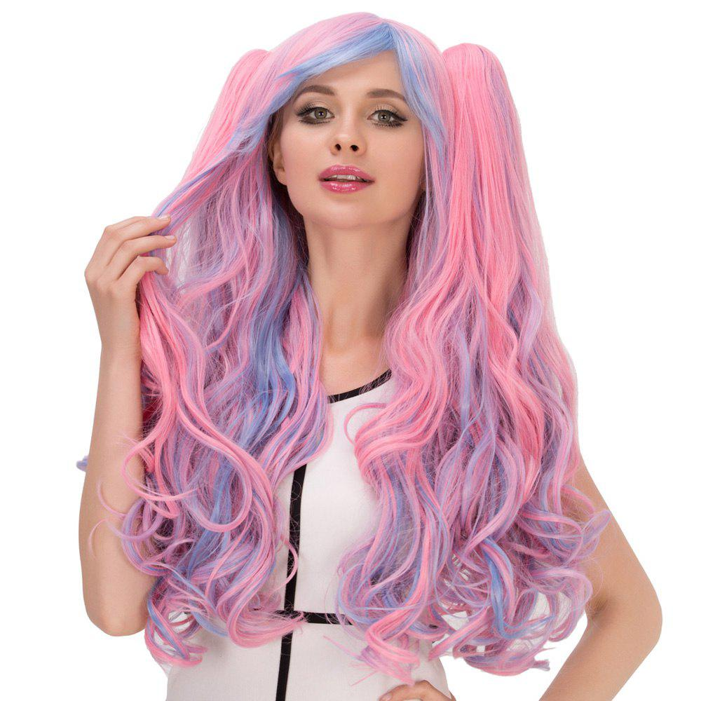 Film Character Colored Long Fluffy Side Bang Wavy With Bunches Cosplay Wig - COLORMIX