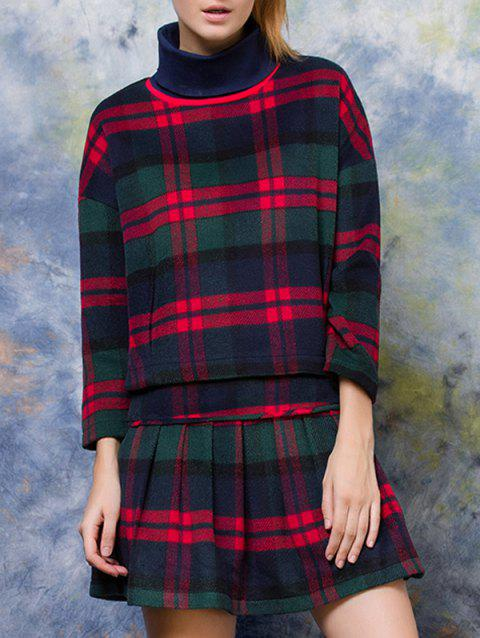 Turtle Neck Plaid Pullover + High Waist Slimming Skirt Twinset - CHECKED S
