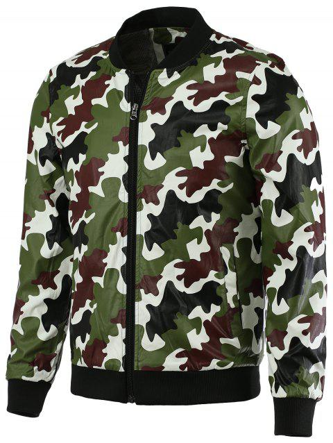 Mode Baseball Collar manches longues Camo Bomber Jacket pour les hommes - Jungle Camouflage 5XL