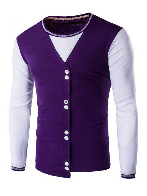 Buttons Design Casual Long Sleeves T-Shirt - PURPLE L