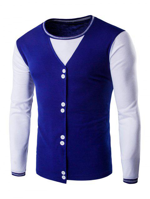 Buttons Design Casual Long Sleeves T-Shirt - SAPPHIRE BLUE M