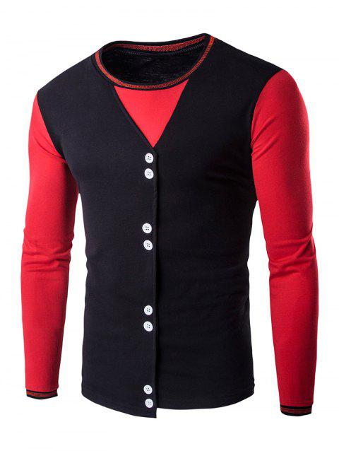Buttons Design Casual Long Sleeves T-Shirt - RED/BLACK M
