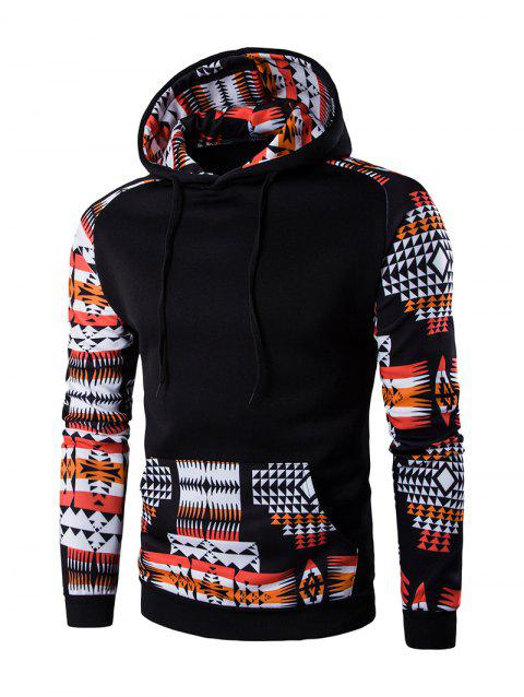 Geometric Print Patchwork Design Hoodie - BLACK L