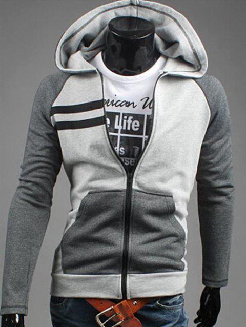 Zipper Flying Patchwork Design Casual Hoodie - GRAY XL