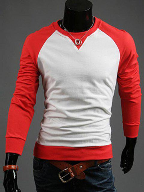 Color Blocks Spliced Casual Sweatshirt - RED 2XL