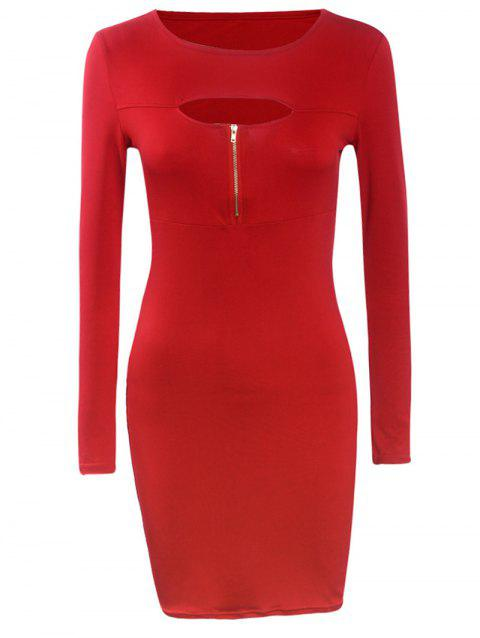 Long Sleeve Tight Front Cutout Zipper Bodycon Dress - RED L