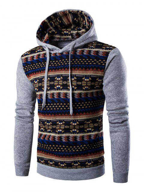 Ethnic Style Long Sleeves Printed Hoodie - LIGHT GRAY XL