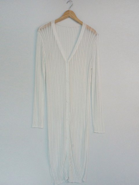 See-Through Pure Color Ribbed Cardigan - WHITE ONE SIZE