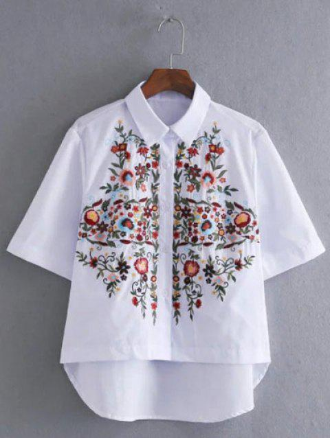 Asymmetrical Floral Embroidery Blouse - WHITE S