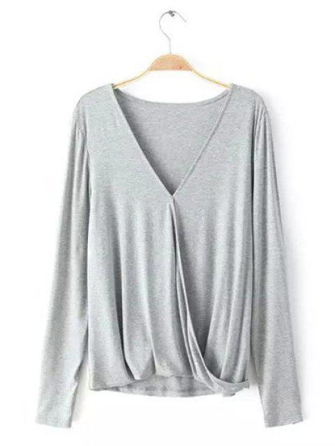 Plunging Neck Long Sleeves Wrap Blouse - GRAY XL
