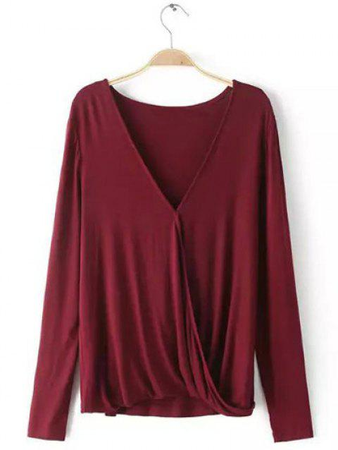 Plunging Neck Long Sleeves Wrap Blouse - WINE RED L