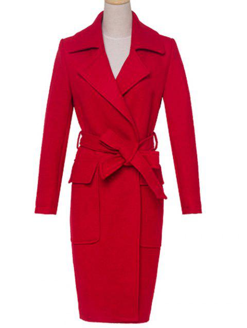 Lapel Pocket Design Solid Color Coat - RED M