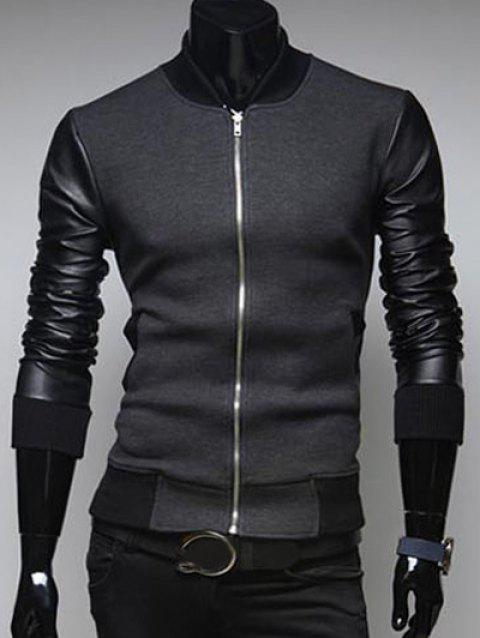 PU Leather Sleeves Casual Jacket - DEEP GRAY L
