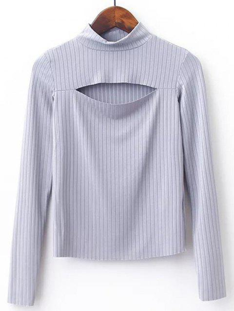 High Neck Cut Out Knitwear - GRAY M