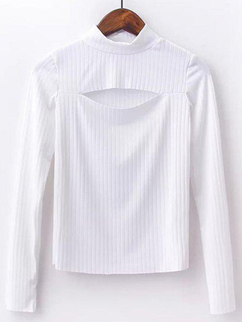 High Neck Cut Out Knitwear - WHITE S