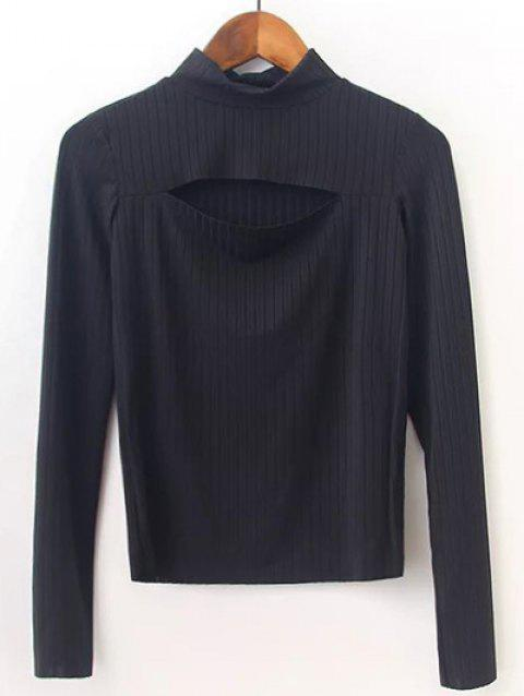 High Neck Cut Out Knitwear - BLACK S