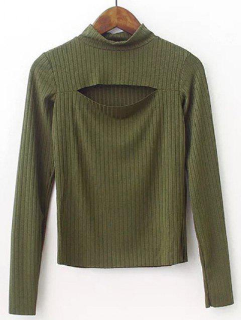 High Neck Cut Out Knitwear - ARMY GREEN S