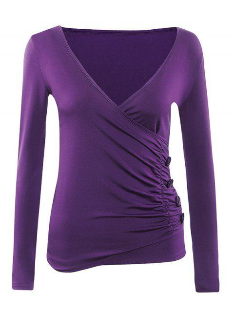 Long Sleeves Ruched Buttoned Top - PURPLE S