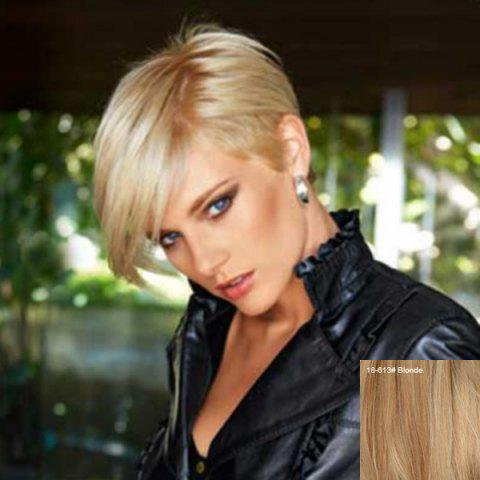 Manly Short Capless Pixie Cut Straight Side Bang Human Hair Wig - BLONDE