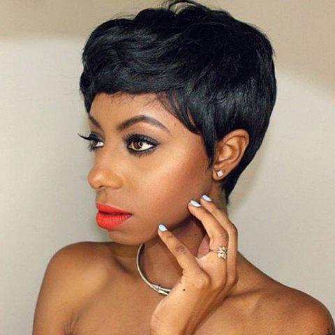 Sophisticated Fluffy Short Capless Human Hair Wig - JET BLACK