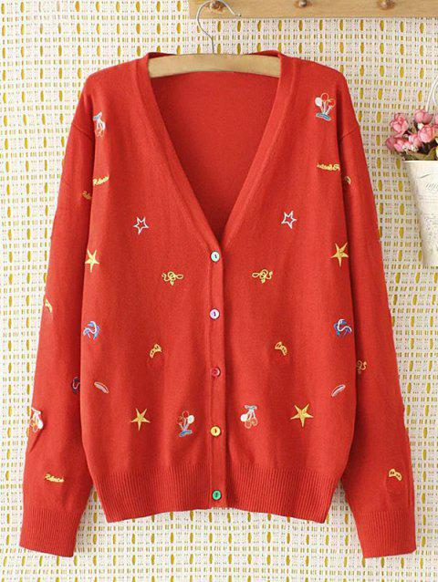 Plus Size V Neck Cartoon brodé single-breasted Cardigan - Rouge 3XL