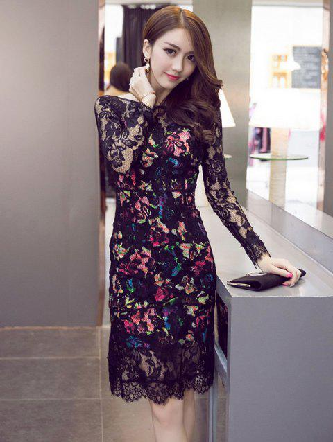 Long Sleeve Colorful Open Back See-Through Dress - COLORMIX S