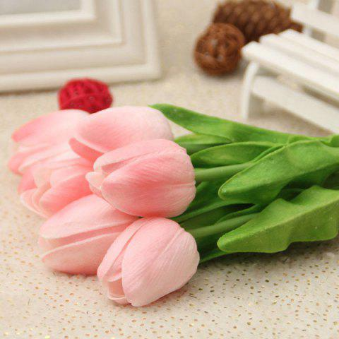 Home Decor Real Touch PU Tulip Bouquet Artificial Flowers - PEACH PINK
