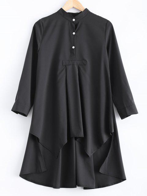 Loose-Fitting Asymmetric Buttoned Blouse - BLACK M