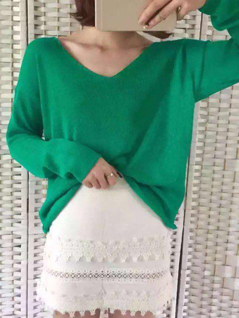 V Neck Long Sleeve Loose-Fitting Sweater - GREEN ONE SIZE