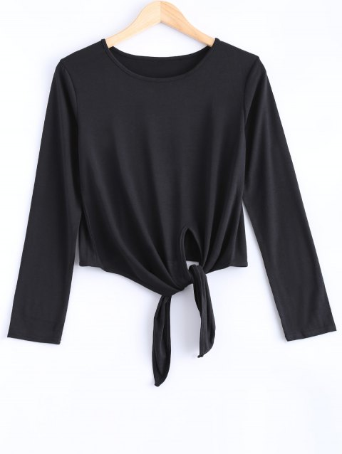 Knot-Front Cropped T-Shirt - BLACK L