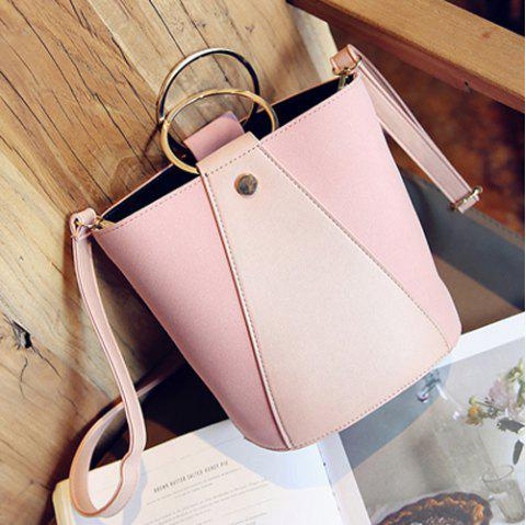 PU Leather Metal Ring Color Block Crossbody Bag - LIGHT PINK