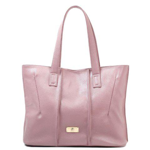 2019 Stitching PU Leather Metal Shoulder Bag In LIGHT PINK ... fc4587f0aea16
