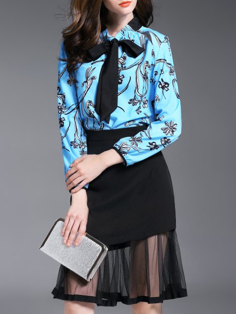 Bow Collar Floral Print Blouse + Voile Spliced ​​Jupe Twinset - Pers S