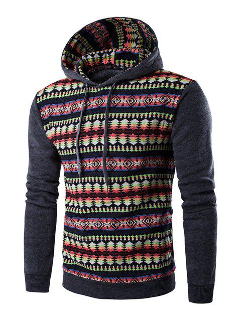Long Sleeves Stripe Printed Hoodie - DEEP GRAY M