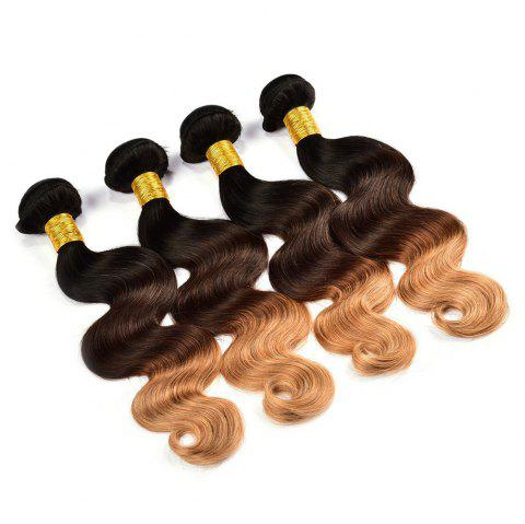 1 Pcs/Lot 6A Virgin Brazilian Hair Fluffy Body Wave Ombre Color Hair Weaves - COLORMIX 14INCH
