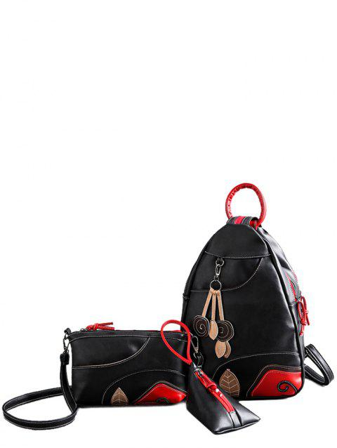 PU Leather Leaf Pattern Knots Backpack - BLACK