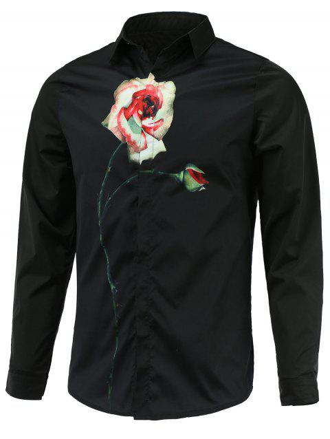 Manches longues Turn-Down Collar Rose Printed shirt - Noir L