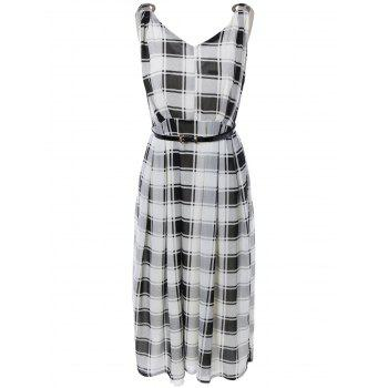 Checkered Pattern Hollow Out Belted Dress