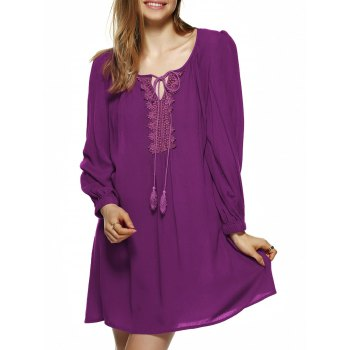Long Lantern Sleeve Tie-Front Tunic Dress