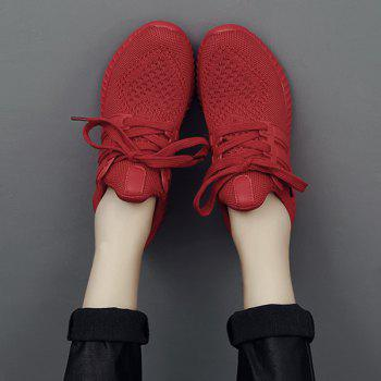 Casual Mesh and Solid Color Design Women's Sneakers - RED 39