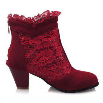 Trendy Lace and Chunky Heel Design Women's Ankle Boots - RED 37