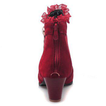 Trendy Lace and Chunky Heel Design Women's Ankle Boots - RED 38
