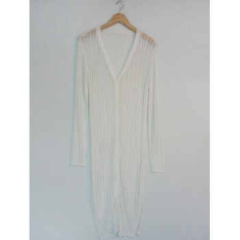 See-Through Pure Color Ribbed Cardigan
