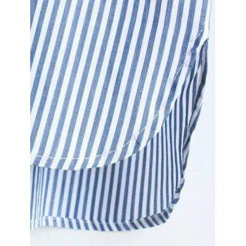 Striped Pocket Design Boyfriend Shirt - BLUE S