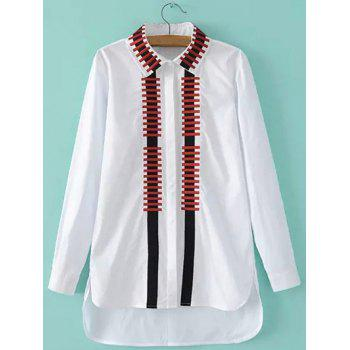 High-Low Embroidery Slit Shirt - WHITE M