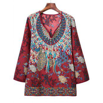 Loose-Fitting Tribal Pattern Blouse - DARK RED S