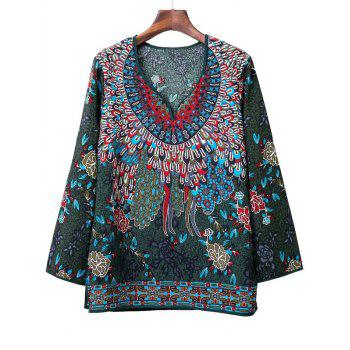 Loose-Fitting Tribal Pattern Blouse