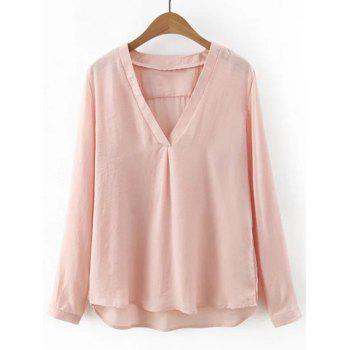 Light V Neck Long Sleeves Blouse - NUDE L