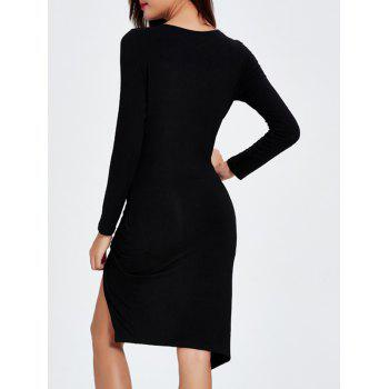 Plunging Neck Asymmetrical Bodycon Dress - BLACK 2XL