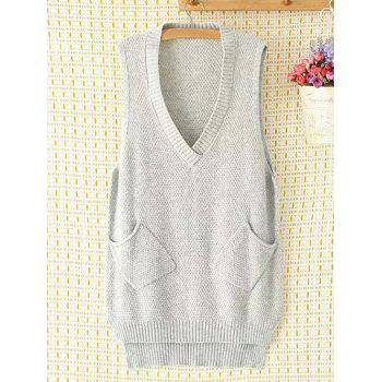 Plus Size V Neck Pocket Design Asymmetric Knitted Vest